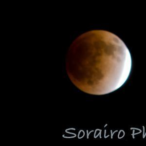 冬の深夜の皆既月食、澄んだ夜空にくっきりと観測できました。