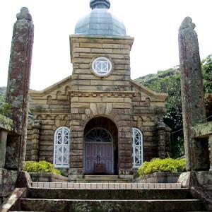 五島列島*世界遺産の頭ヶ島天主堂のお庭で…