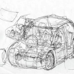 【ポンコツ絵日記】軽自動車に人を乗せる(絵) 2月2日の礼拝にて