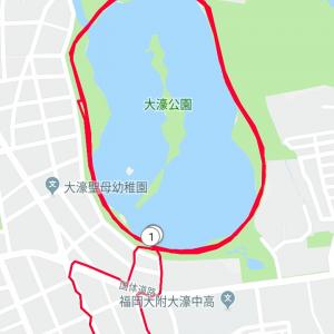 台風前ペース走10km on 8/5