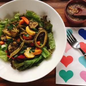 夏野菜マリネチアシードドレッシングサラダ