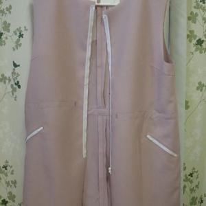 薄紫のハーフコート制作中