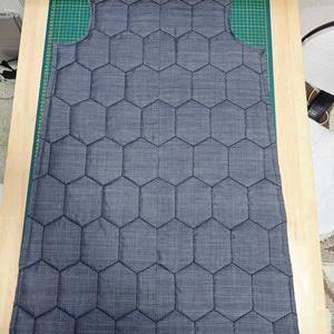 大島紬の綿入りコートを作り始める