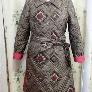 大島紬の綿入りコート完成