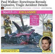 ポールウォーカー事故で顔面大やけど