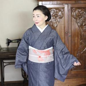 付け帯着用5 デニム着物と紬帯とハンカチ