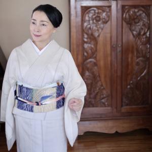 付け帯着用17 紗紬にトビウオ帯