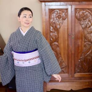 今季初、綿麻の着物をきました。