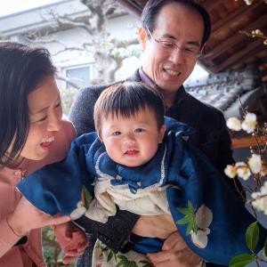 大阪での家族写真撮影。ご実家にて。