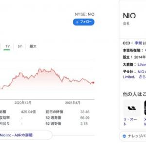 【NIO株】株の売り時②その相場を形成した割高株の下落が始まり、オニールの損切りラインに引っかかった時。