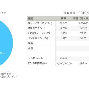 【祝❀3億円初達成】2019年7月27日運用資産は3億2400万円でした。ソフトバンクG300株買い増し