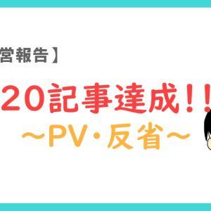 【運営報告】20記事達成!!PVや反省を語ります【雑記ブログ】