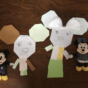 折り紙でミッキーとミニー作ったよ💕