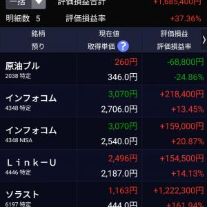 リンクユーの上昇で含み益+165万を突破