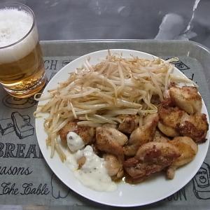 チキンとモヤシでチャチャっとお昼ご飯!(困った時のスタミナ源たれだよ。)