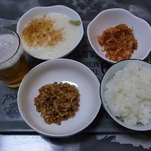 納豆、とろろ、キムチで晩御飯!!(元気が出ますよ~)