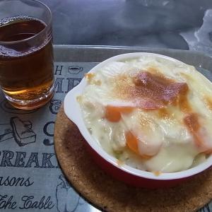 朝食はチキンドリアです。(シチューの残りで作ったよ!)
