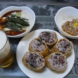晩御飯は赤飯いなりと納豆と長芋ですよ~(^^♪