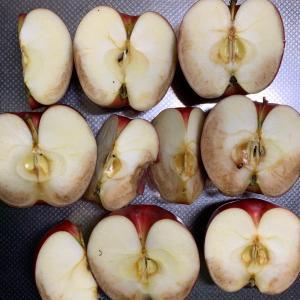リンゴを持って八百屋さんへ