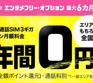 【 お試しSIMに最適】BIGLOBEモバイル 3GB半年間0円+初期費用実質0円+エンタメフリー半年間無料