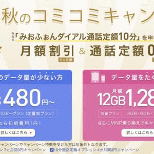 IIJmio 初期費用1円+月額480円×6ヶ月+10分通話定額0円×7ヶ月+最安機種2980円
