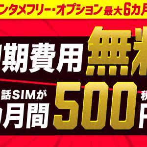 BIGLOBEモバイル 初期費用無料+月額500円×6ヶ月間+最大18000円還元