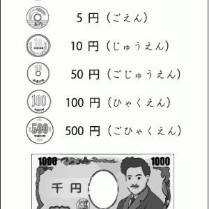 第84回🍃 お金の学習(金種の区別・1金種のかぞえ方)