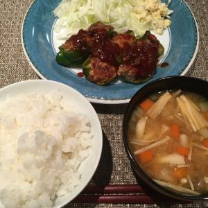 夜ごはん☆適当に作ったピーマンの肉詰め 2人前190円