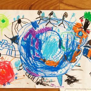 息子の小学校での初めての絵画