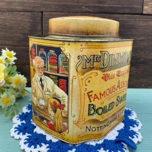 【新着商品】イギリス製「Mr DINWOODIE'S BOILED SWEETS」ヴィンテージ・アンティーク ティン缶