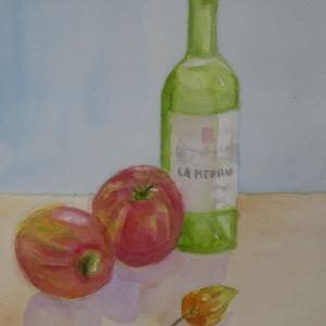 リンゴとビンとホウズキ