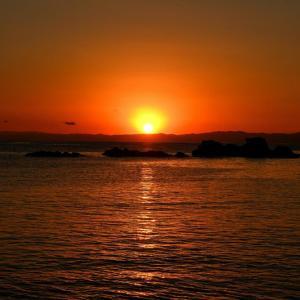 森戸神社裏の海岸での日没