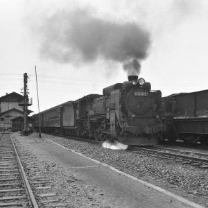 室蘭本線 D51872に牽引された客車が追分駅を発車