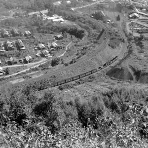 夕張鉄道 ズリ山から平和地区を俯瞰撮影