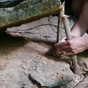 石板がバタンッ!!簡単な小動物トラップ作って獲物を焼いて食う