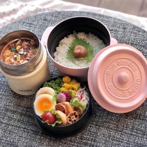 スープジャーでキムチ麻婆豆腐弁当~菜の花の胡麻和え、大根とハムの甘酢和え、海老とレンコンのオイスター炒めなど