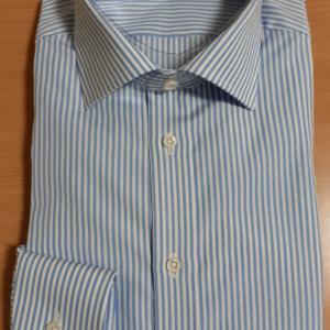 トーマスメイソン生地のストライプのシャツ、完成。