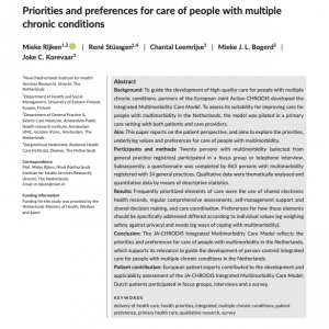 Multimorbidityの患者が抱いているケアの優先順位と好みに関する研究紹介