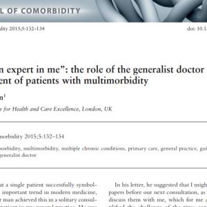 あなたは私の専門家です:多疾患併存患者のマネジメントにおけるジェネラリストの役割