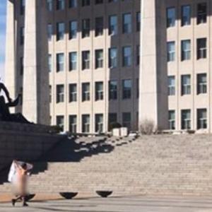 韓国の国会議事堂の前を裸で走り回る、60代男