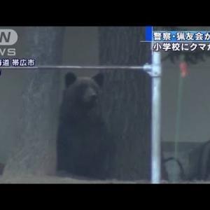 【北海道】小学校の校庭にクマ 猟友会が駆除