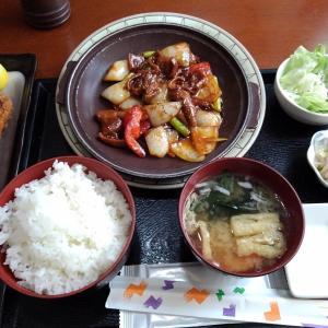 座間市 横浜食堂さんのホルモン焼きと串カツランチ