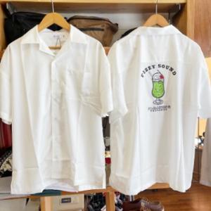 刺繍プリントオープンカラーシャツ