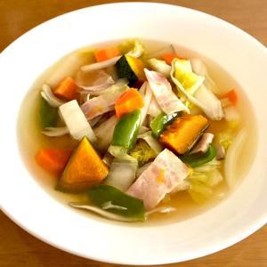 ベーコンと野菜たっぷり♡コンソメスープ