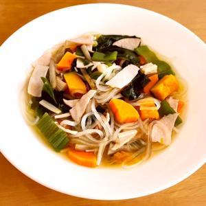 つるつる食感♡ハムとマロニーの中華スープ