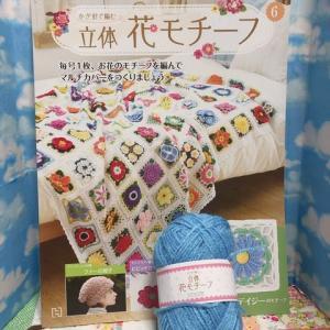 アシェット/かぎ針で編む立体花モチーフ6号〜ブルーデイジー〜