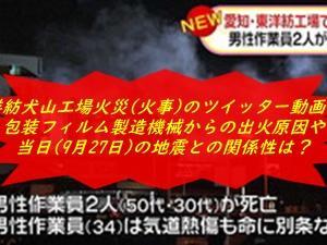東洋紡犬山工場火災(火事)のツイッター動画は?包装フィルム製造機械からの出火原因や当日(9月27日)の地震との関係性は?