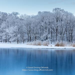 網走川の霧氷
