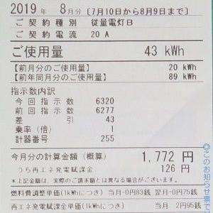 2019年8月の電気代は1772円。先月より少し上がってました。(´・ω・`)