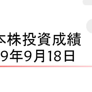日経平均の連騰が10でストップ[日本株成績190918]